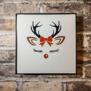 Girly Reindeer Christmas Frame
